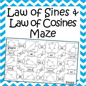 Law Of Sines And Law Of Cosines Maze Law Of Cosines Law Of Sines Teaching Algebra