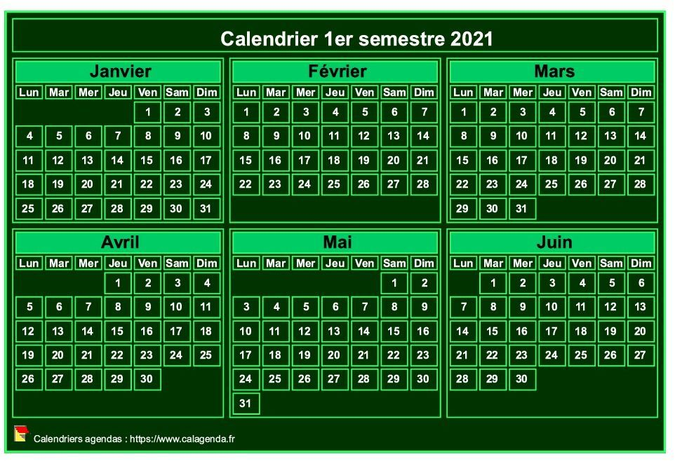 Calendrier 2021 à imprimer, semestriel, format mini de poche, fond