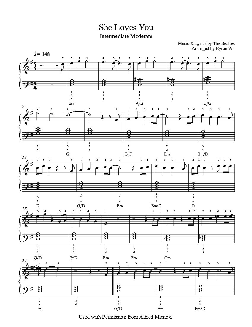 She Loves You By The Beatles Piano Sheet Music Intermediate Level Educacao Musical Partituras Musical