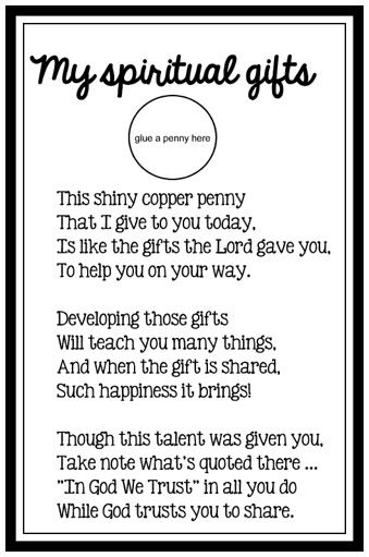 image relating to Printable Spiritual Gifts Test Baptist titled Brilliant copper penny (printable/poem) childrens church Programs