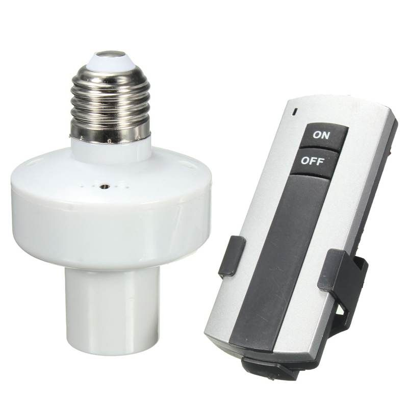 E27 Screw Lamp Base 10m Wireless Remote Control Light Bulb Lamp Holder Lamp Bases Cap Socket On Off Switch Remote Control Light Lamp Bulb Light Bulb Lamp