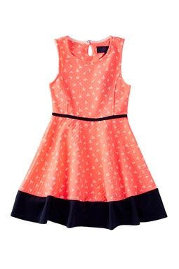 Contrast Trimmed Heart Skater Dress (Little Girls)