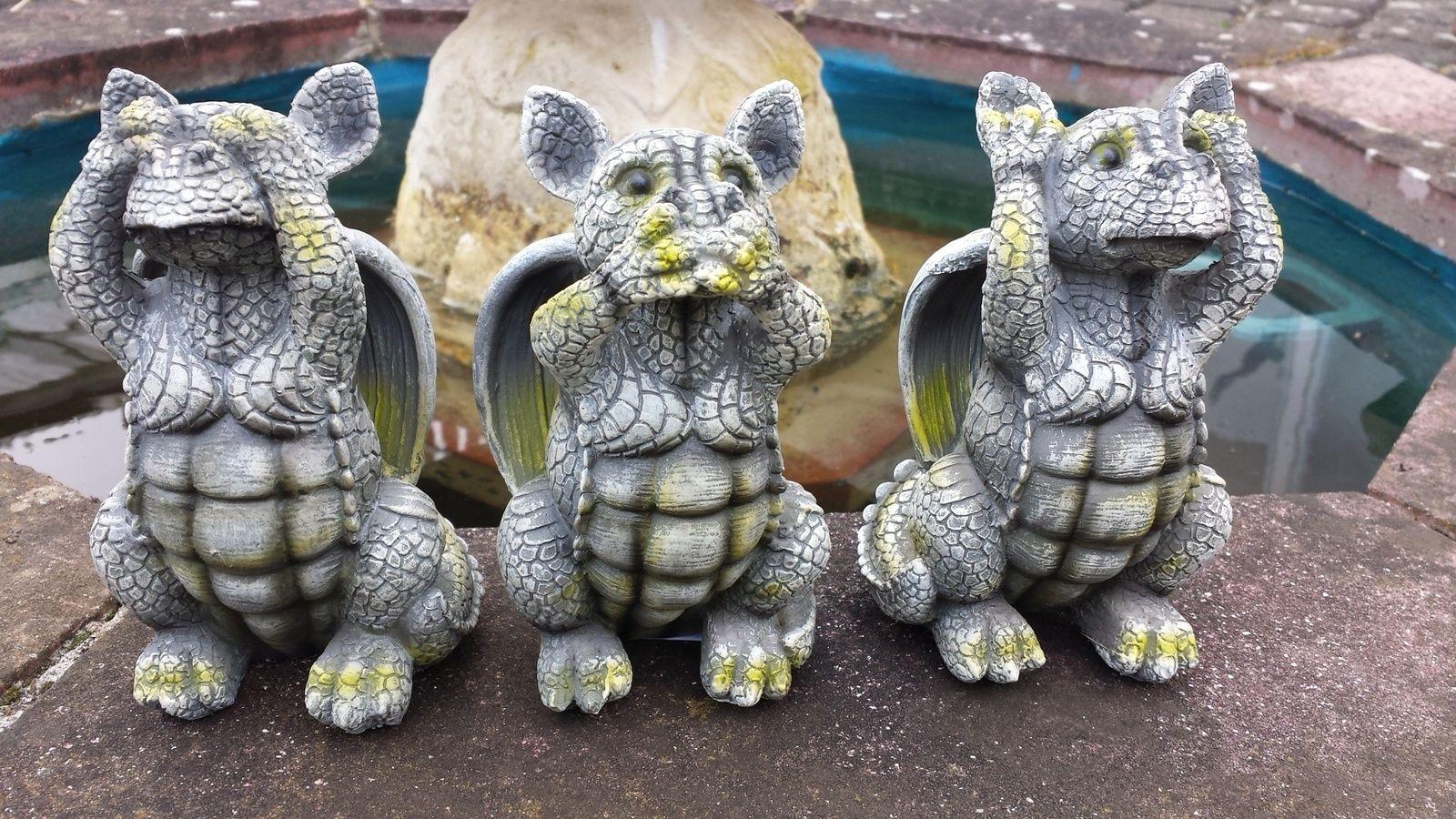 Gartenfigur Drachenkinder Die Drei Weisheiten Im 3er-Set