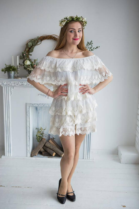 8a8f4327952 Frilly Lace Off the shoulder Bridal Romper from my Paris Inspirations  Collection