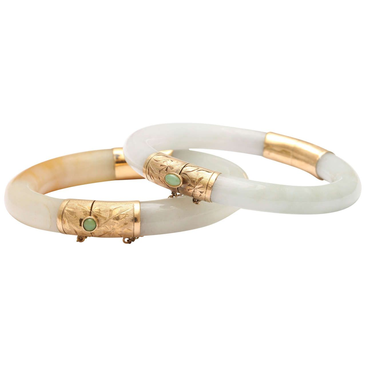 Pair Of Modern Jade Bangles With Engraved Jeweled Clasps