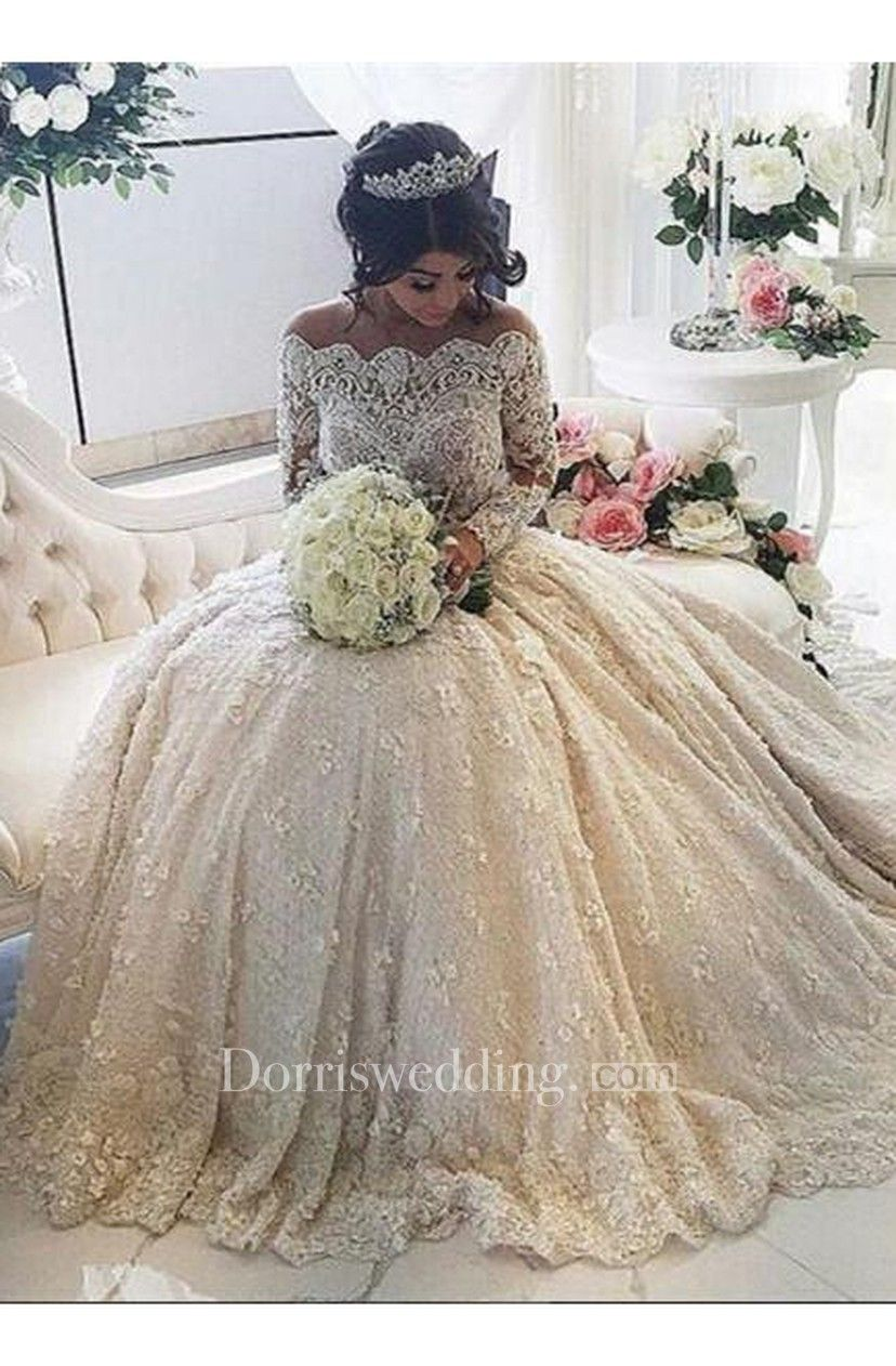 Lace wedding dress cheap december 2018 Beautiful Lace Long Sleeve Princess Wedding Dresses  Ball Gown