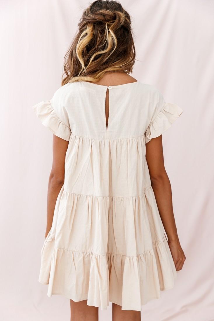 Hyacinth Ruffle Sleeve Smock Dress Beige #fall_dress