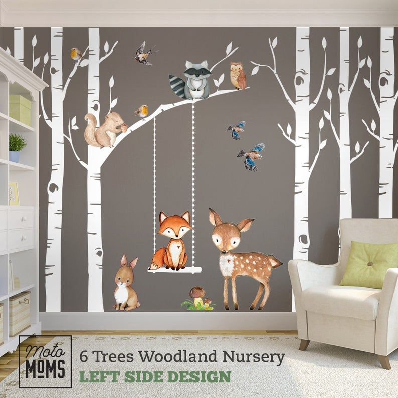 Woodland Nursery Wall Decor 6 Birch Trees Fox & Friends Fox Deer Owl Squirrel Bunny Raccoon Birds Wall Decal Neutral Nursery Easy to Install#birch #birds #bunny #decal #decor #deer #easy #fox #friends #install #neutral #nursery #owl #raccoon #squirrel #trees #wall #woodland