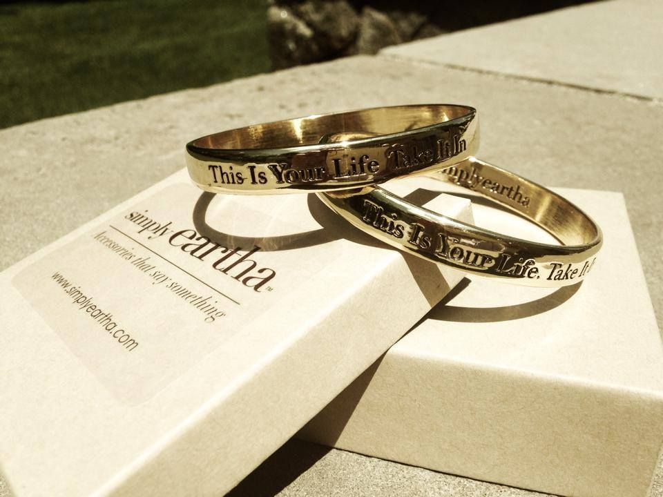 'This Is Your Life. Take It In.' Get outside, look around and Be Grateful. Every day is a good day for #gratitude.  #Eartha Kitt #Simply Eartha #kittshapiro #mothersanddaughters #kittisms #words #wisdom #empower #accessoriesthatSAYsomething #bracelets #bangles #gold #silver #madeinusa #RememberTreasureLove www.simplyeartha.com