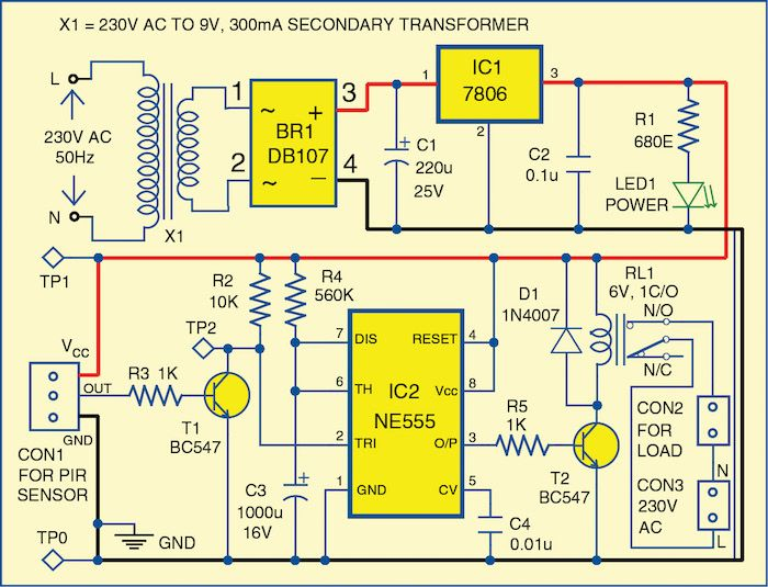 Motion Detector Using Ne555 Timer Solaire Pinterest