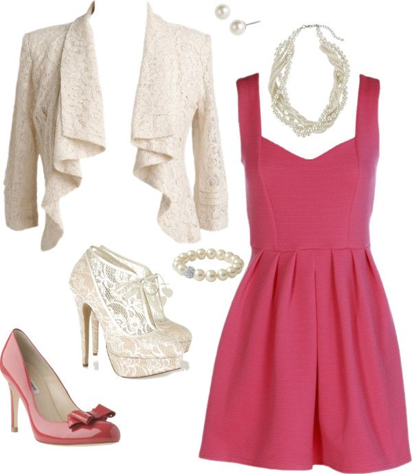 Pink dress lilac shoes
