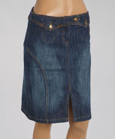 Another great find on #zulily! Dark Stone Button Pocket Denim Skirt - Women #zulilyfinds