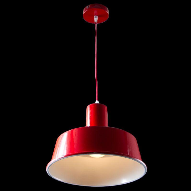 Lampara de techo campana met lica roja datium ideal para la iluminaci n de salones y - Lamparas para salones ...