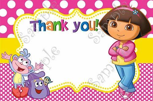 Dora The Explorer Birthday Party Invitation Free Thank You Card