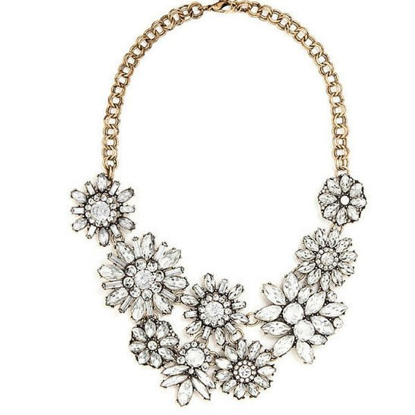 Blossom Bib The Styled Collection (43 CAD) ❤ liked on Polyvore featuring jewelry, necklaces, bib necklace, cz jewellery, flower necklace, bib jewelry and cz jewelry