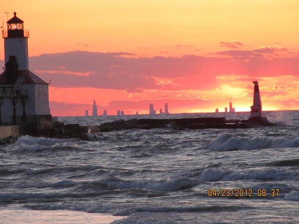 Chicago Skyline Sunset Lynette Johnston This Sunset From Michigan City Indiana Shows The Chicago Skyline 36 Mile Michigan City Chicago Skyline Lake Michigan