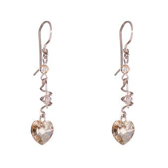 bfaa86e3d4b1 Aretes con Cristales Swarovski® En Aleacion con Oro de 18k Jands Joyeria  Artesanal-Dorado