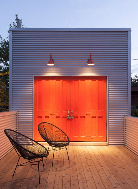Montreal Home Updated With Corrugated Metal Cladding And A Vibrant Staircase Architecture Metal Cladding House Design
