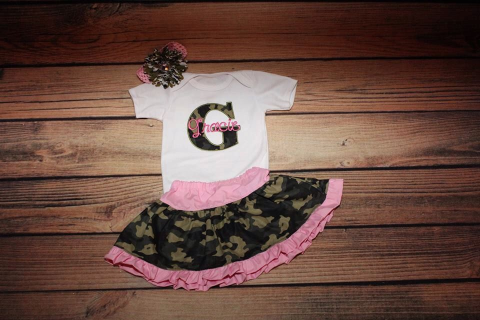 a91f56f77 Personalized Baby Girl Clothes Pink Camo Baby Girl Outfit Camo Skirt ...