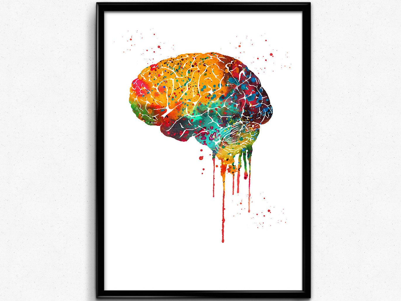 Human Brain Brain Anatomy Watercolor Print Medical Science Art