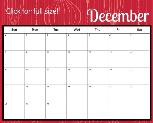 Free Printable Christmas Themed December Calendar  December