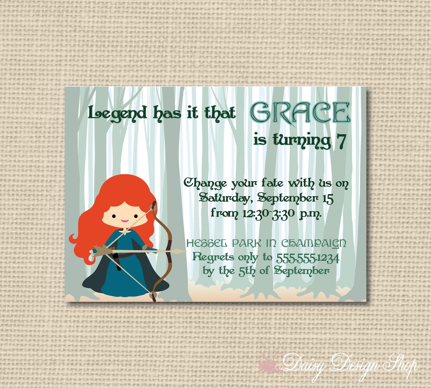 Birthday Party Invitations Brave Inspired By Daisydesignshop Kids