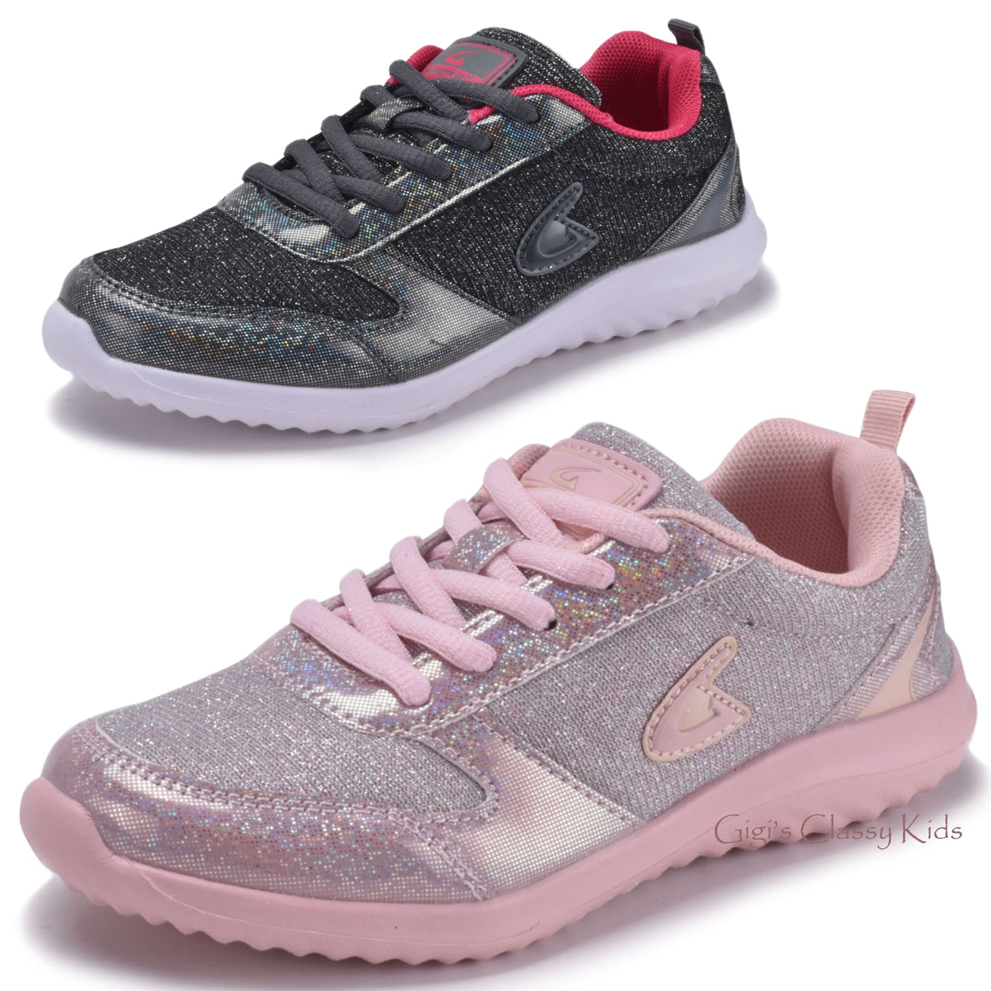 Girls Glitter Sneakers Lace Up Tennis Shoes Kids Youth Athletic Running Fashion Ebay Kid Shoes Lacing Sneakers Glitter Sneakers
