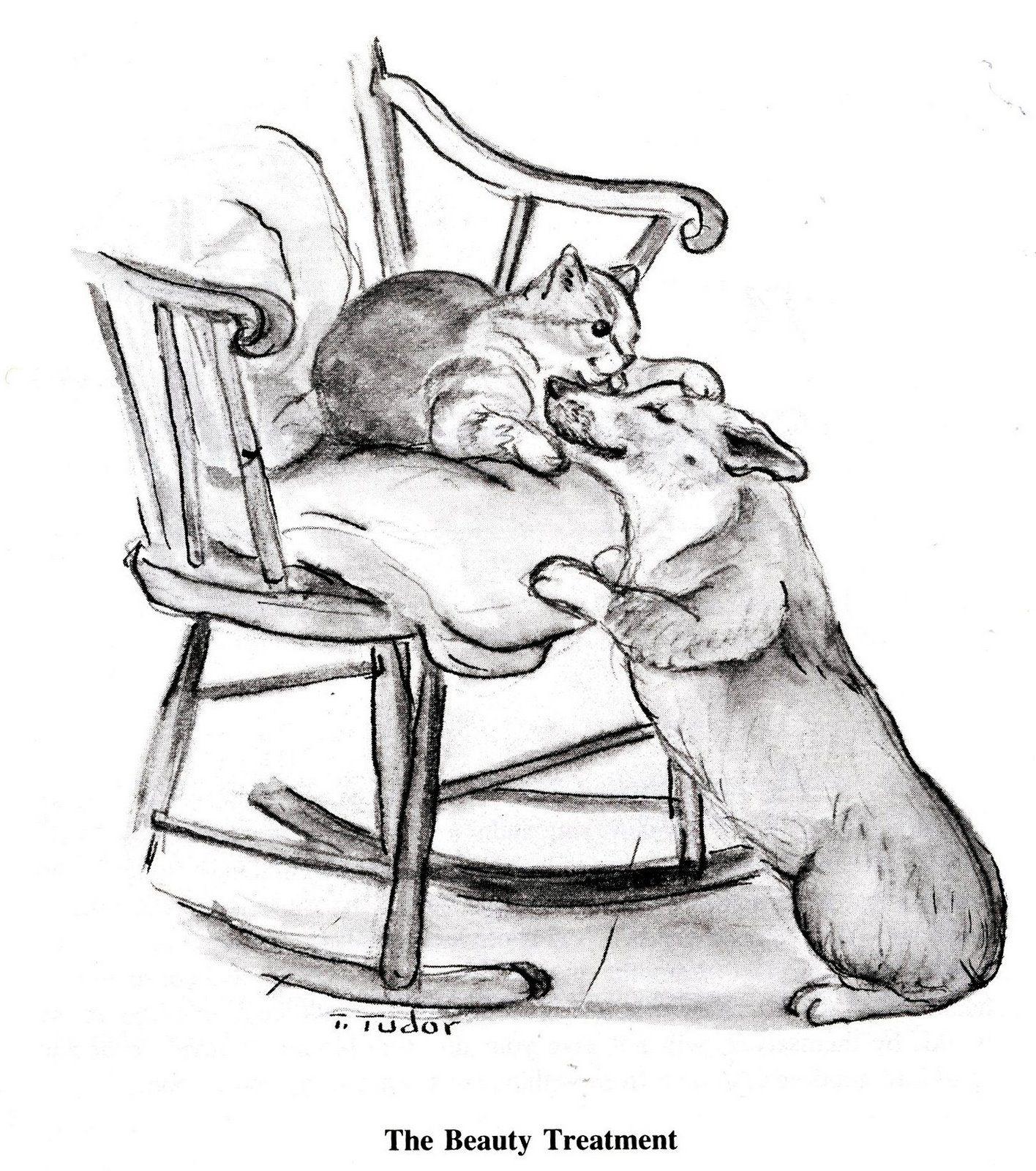 The Beauty Treatment ~ Tasha Tudor ~ corgi and cat