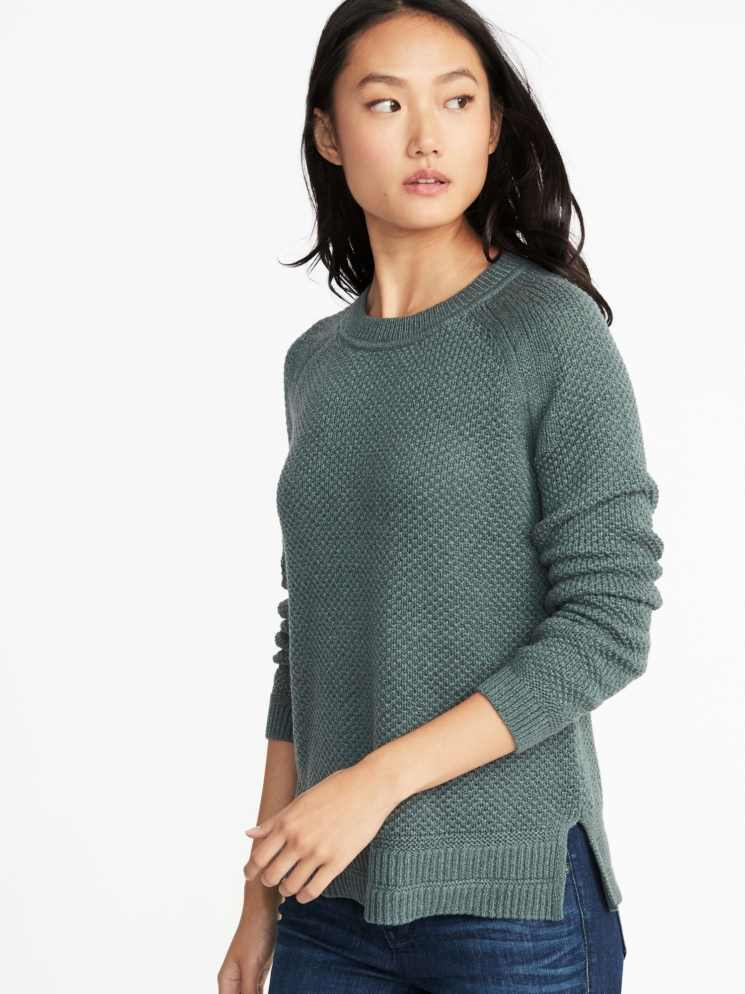9ab19394cbb4a Small Tall in Sea Green - Textured Crew-Neck Sweater for Women