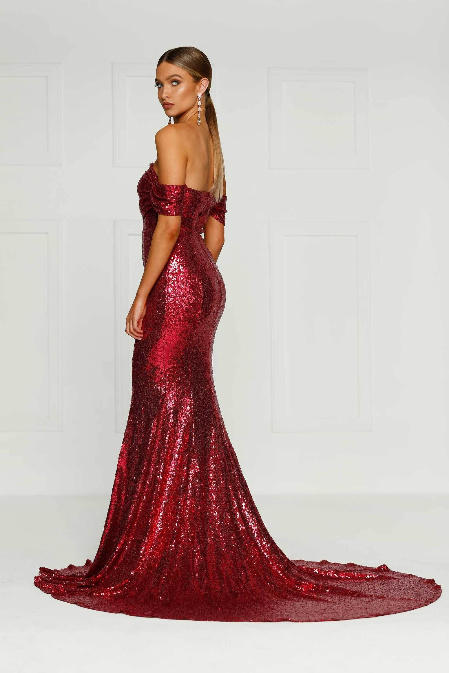 8fd3fff8feb Wine Red Sequin Prom and Evening Dress
