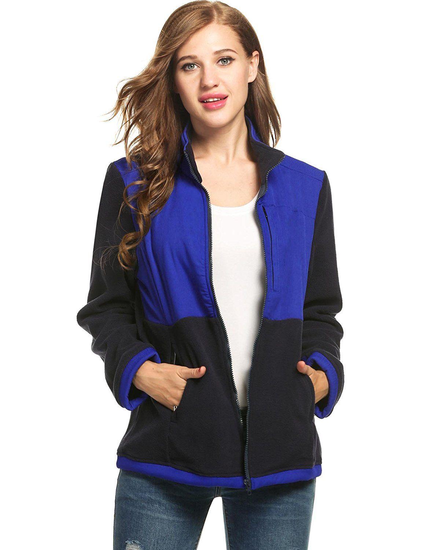 d1be5aa81ef Meaneor Women s Full Zip Fleece Jacket Outdoor Active Warm Plush Hoodie  Coat M-XXL at Amazon Women s Coats Shop