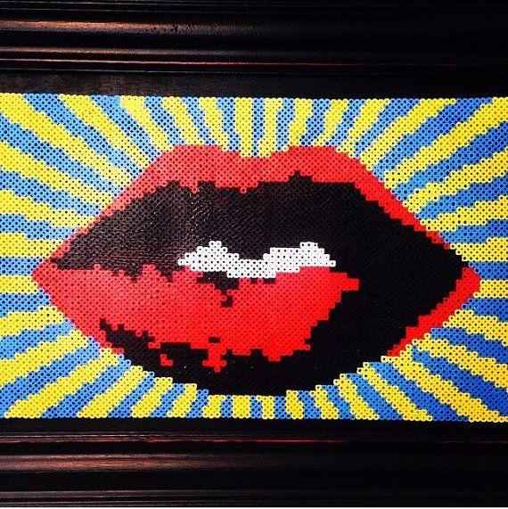 Perler bead lips unframed LARGE | Products | Perler beads