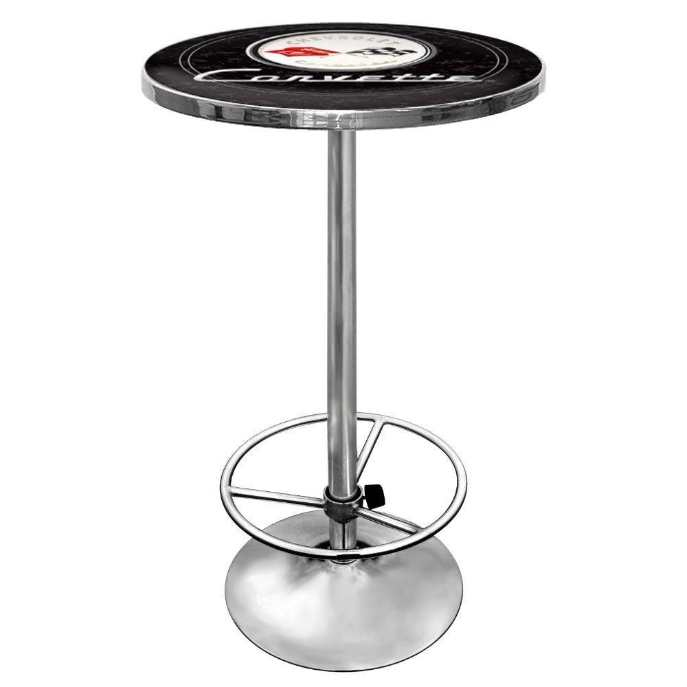 Corvette C1 Chrome Pub/Bar Table, Black