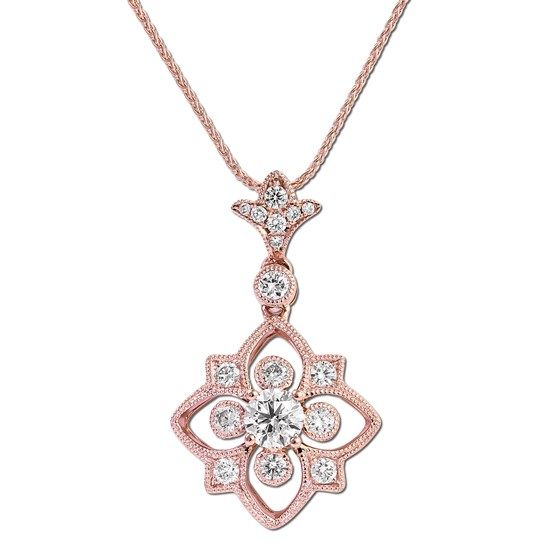 Gottlieb & Sons 29534B - Vintage inspired rose gold diamond pendant.