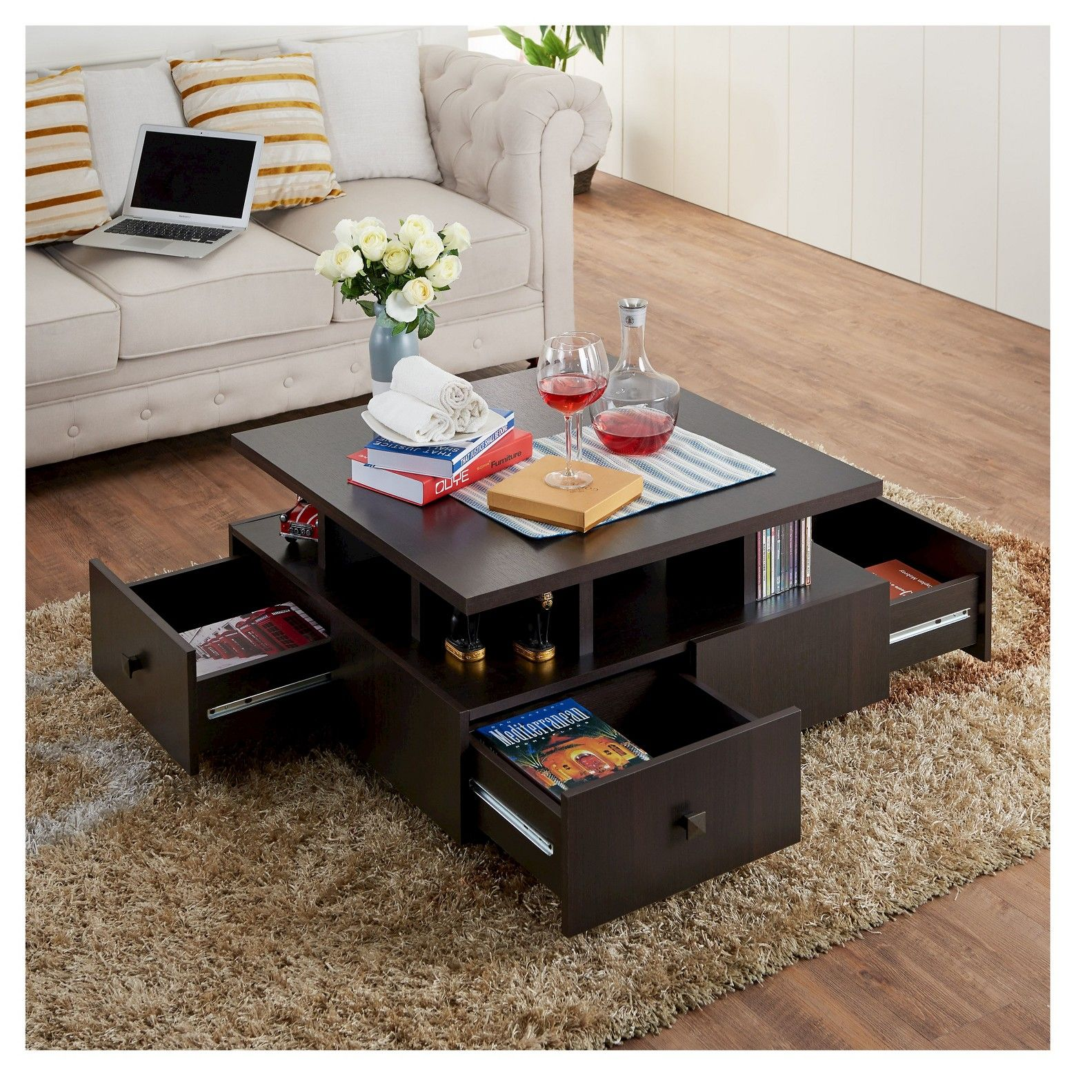 Campfield Modern Tiered Design Coffee Table Espresso Iohomes Coffee Table Coffee Table Square Vintage Home Decor