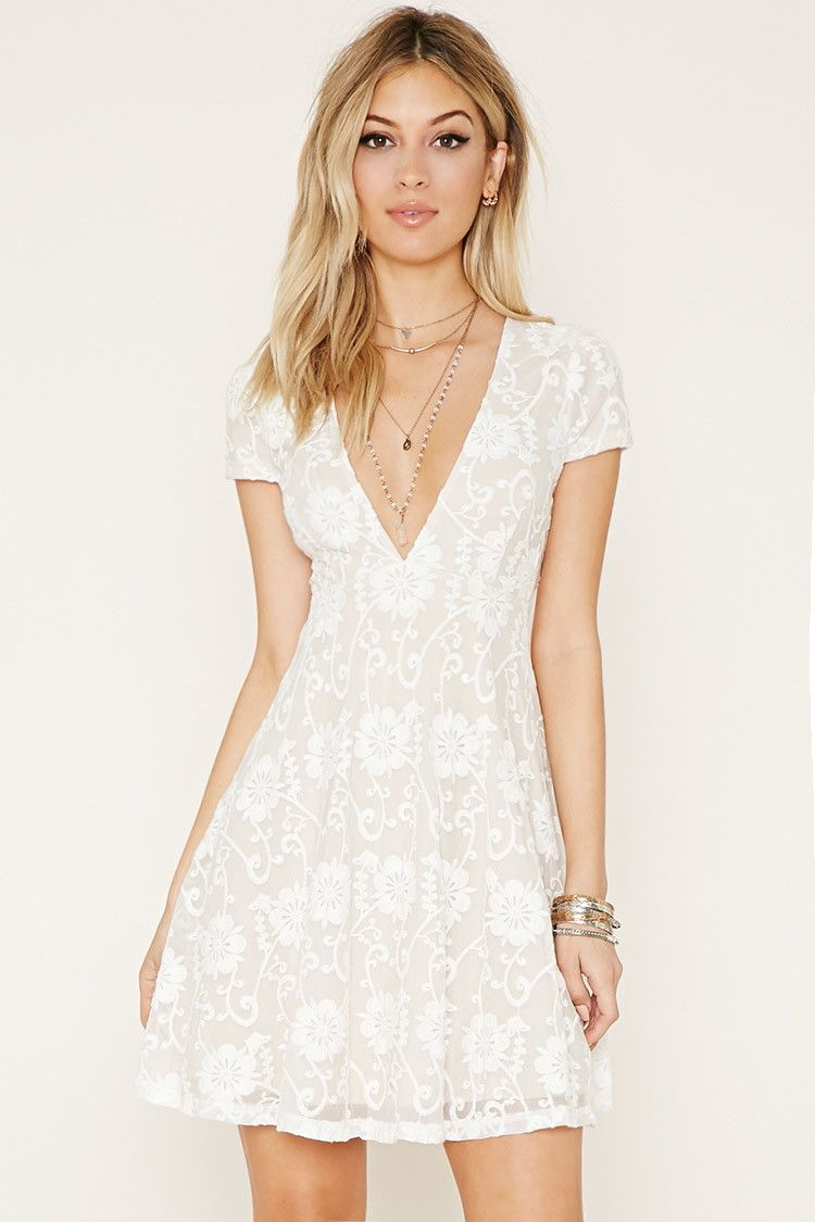 Pretty white deep v neck lace babydoll dress for $29 90 at