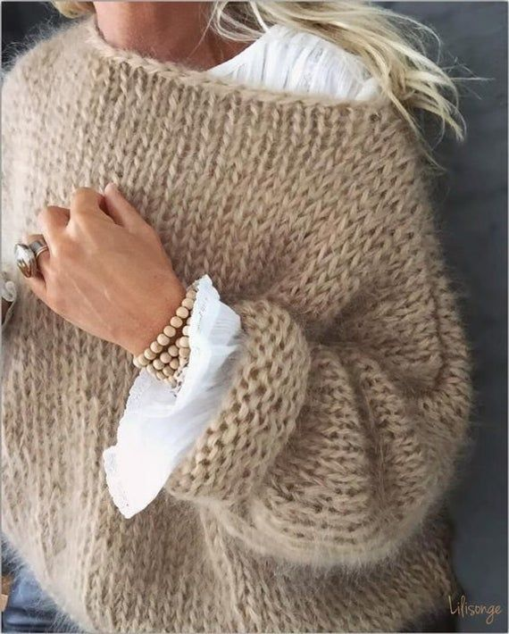 White women sweater  Mohair  sweater Hand Knit women cardigan Angora Wool cardigan Arm Knitting women jaket Oversize Mohair