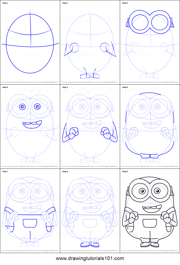 Show me how to draw a minion - How To Draw Bob From Minions Step By Step Png Some Oval Shaped Character Designs