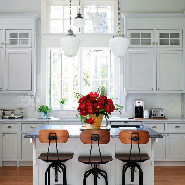 Island Panel Front Glass Front Cabinet Top Of Standard Cabinets Wood Casing Around Windows Subway Tile Bac Kitchen Inspirations Kitchen Style Kitchen Design