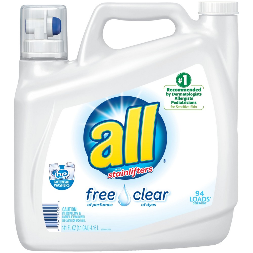All Ultra Free Clear He Liquid Laundry Detergent 141oz 94 Loads Laundry Detergent Liquid Laundry Detergent Biodegradable Products