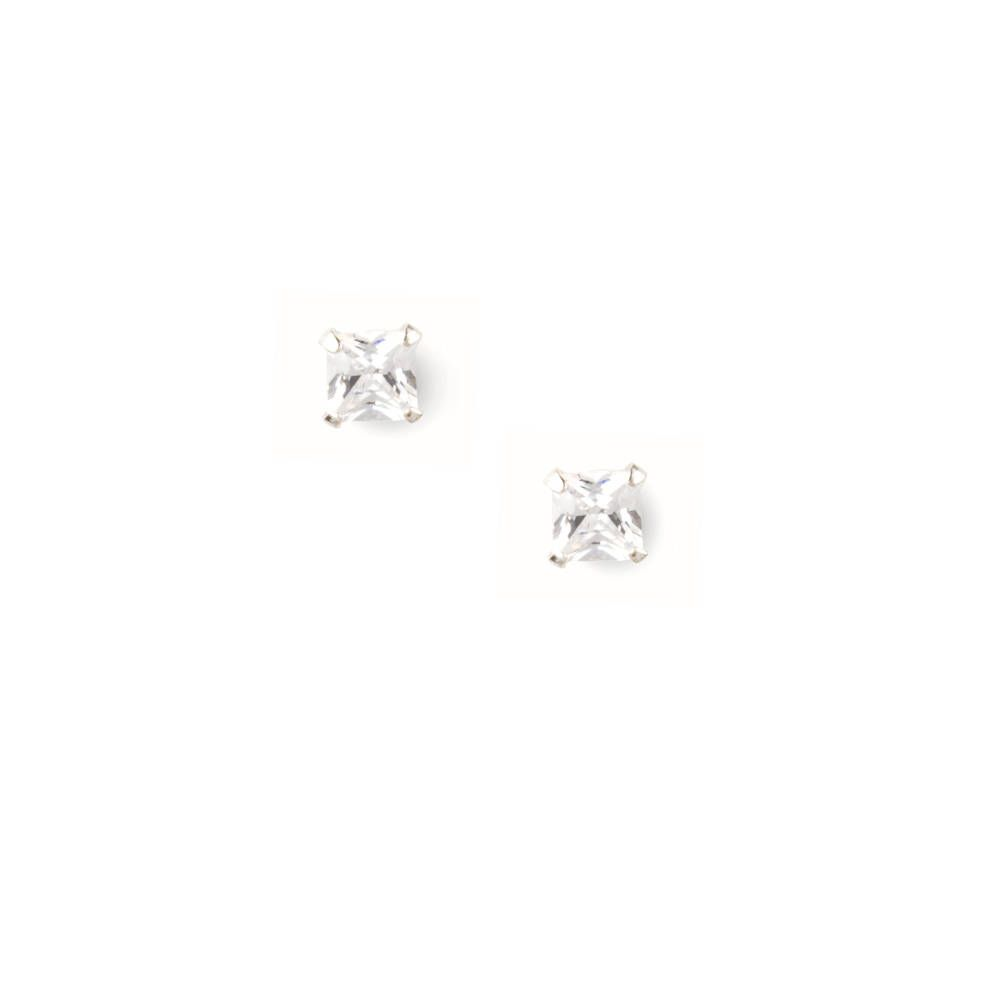 Sterling Silver Martini Set 5MM Square Cubic Zirconia Stud Earrings
