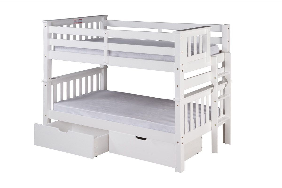 Twin loft bed dimensions  Santa Fe Mission Low Bunk Bed Twin over Twin  Bed End Ladder