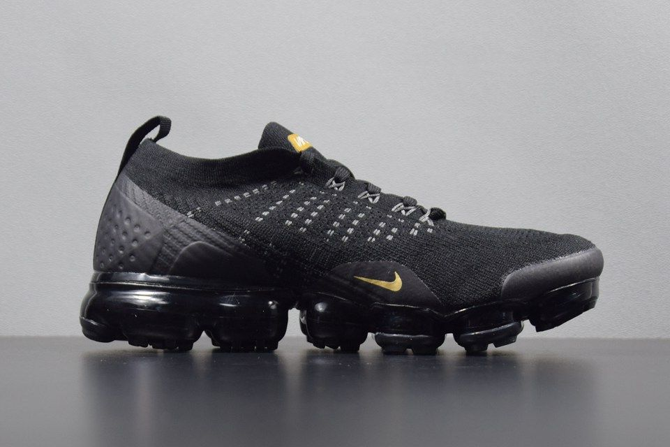 92c70e4edf9 New Nike Air VaporMax 2018 2.0 Flyknit Black Gold Women Men