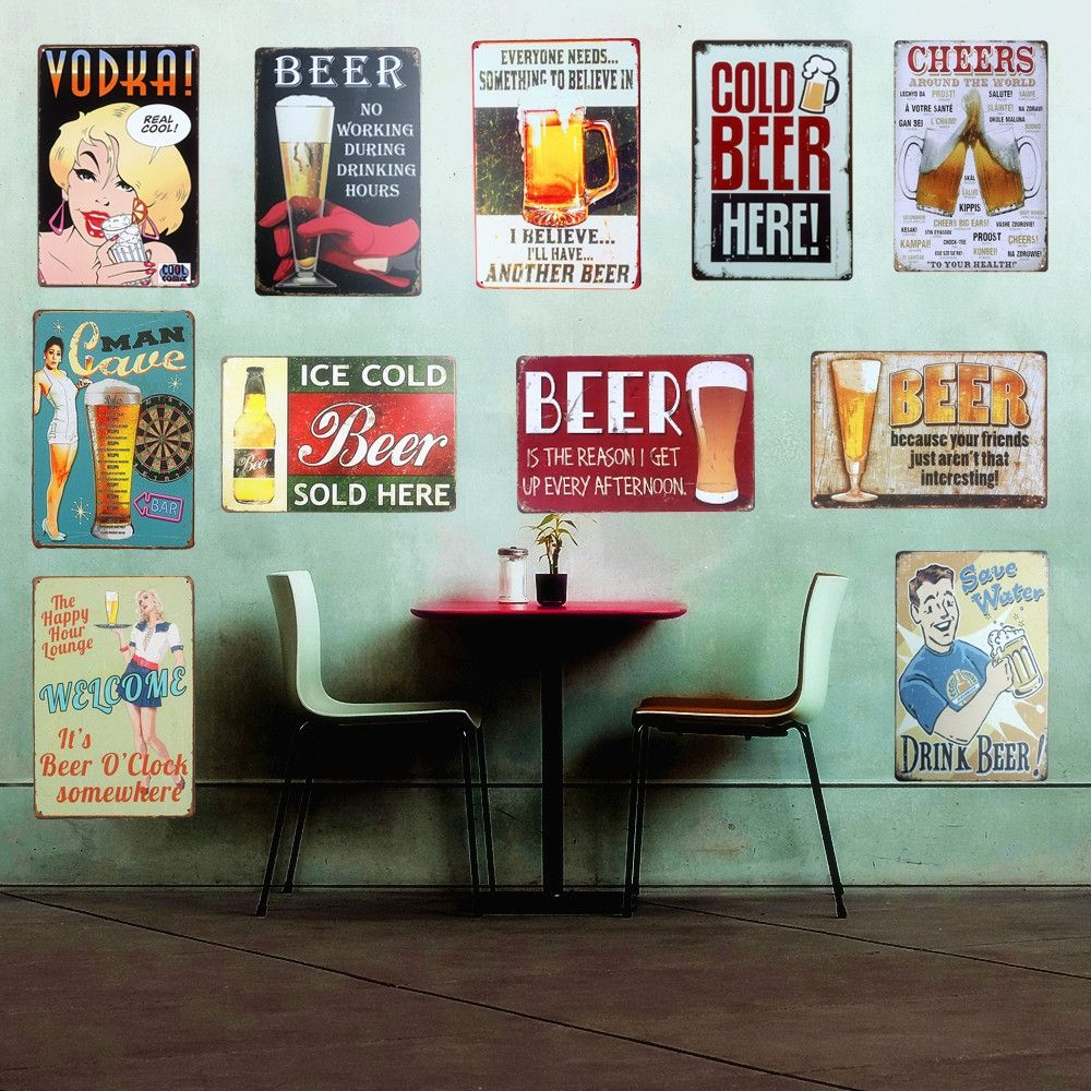 Chic Drink Beer Home Bar Vintage Metal Signs Home Decor Vintage Tin Signs  Pub Club Vintage