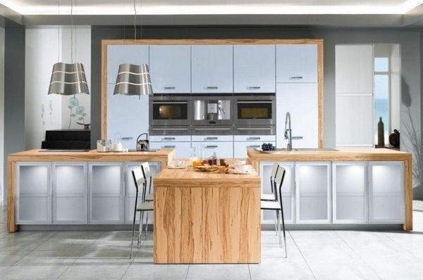 Holzarbeitsplatten Küche Hell Schiene Korn hellgrauen Fronten - wohnideen von feng shui