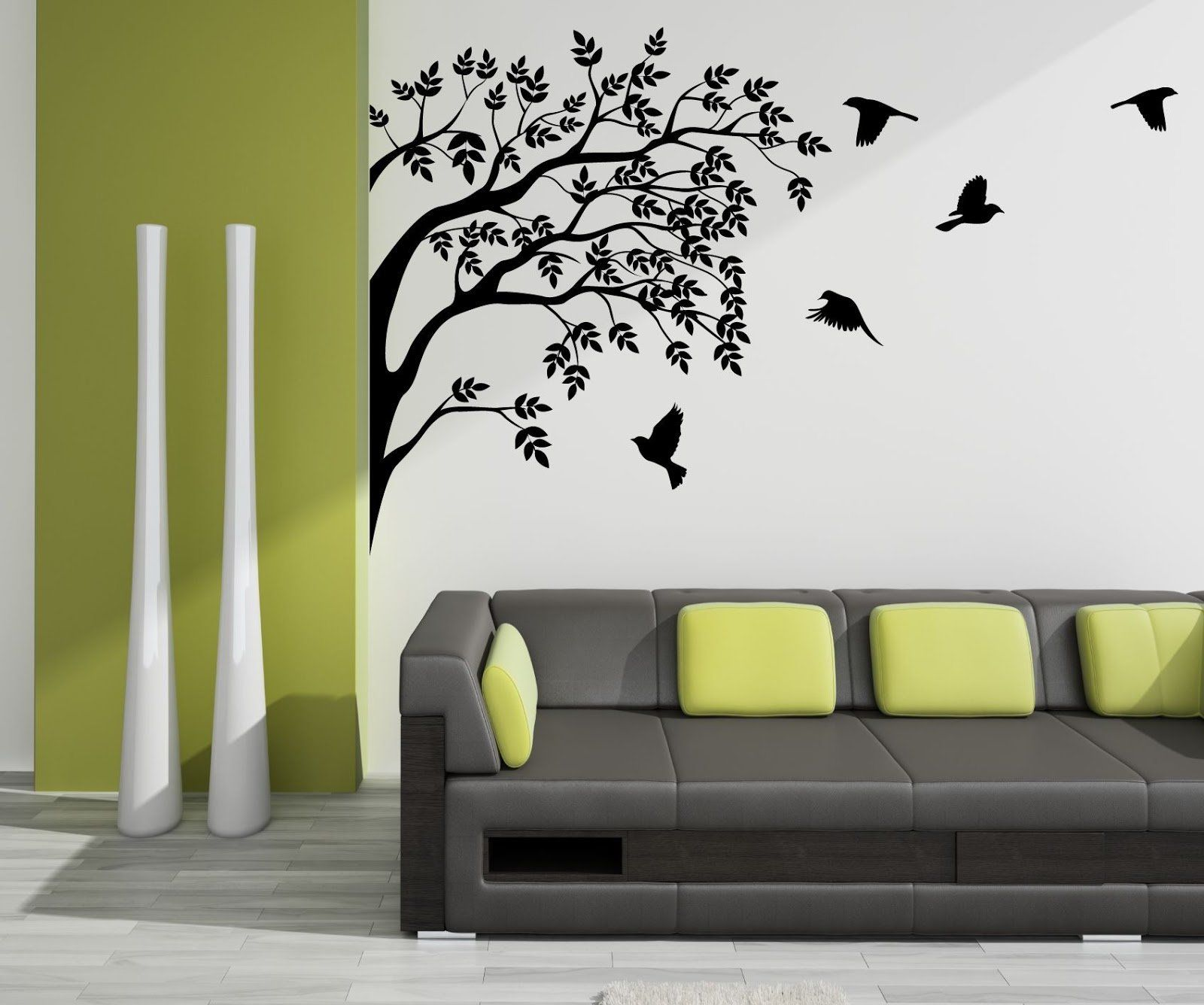wall design ideas for your home black and white tree mural ...
