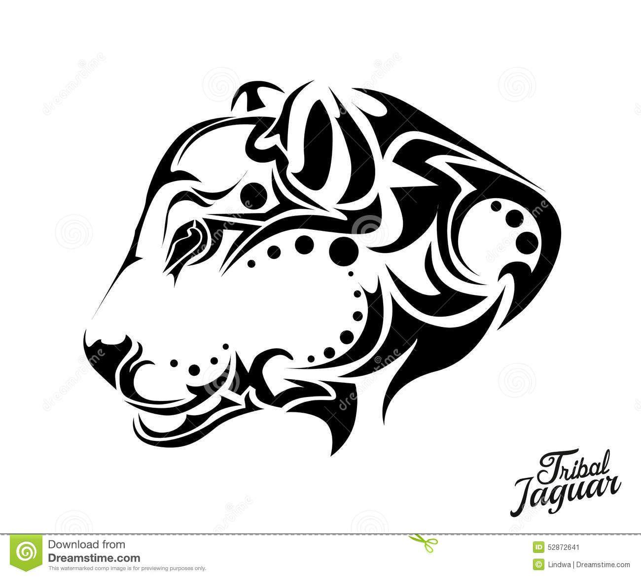 Tribal Jaguar Tattoo Vector Illustration Background