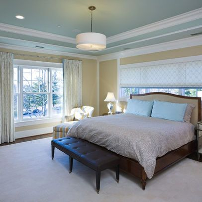Blue Ceiling And Tan Walls Great Webstie For Tray Ceiling Ideas Blue Bedroom Design Colored Ceiling Blue Ceilings