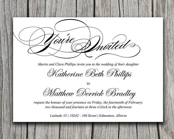 Calligraphy Wedding Invitation Template - Black White Typography - invitation templates for microsoft word