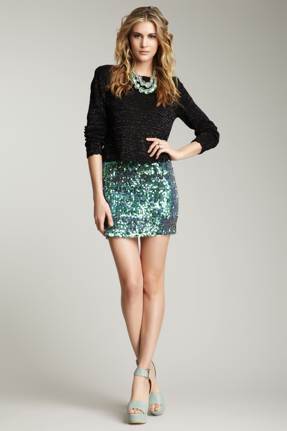 Mini sequin skirt outfit images